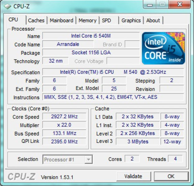 سی پی یو hp 8540p i5
